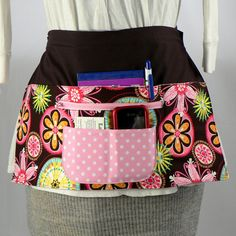 Vendor Half Utility Apron - 6 Pocket Apron with zipper money pocket - Carnival Bloom. $30.00, via Etsy.