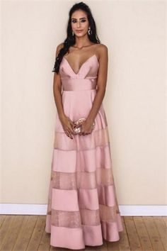 Beauty Long Spaghetti Straps V-neck High Low Pink Simple Prom Dresses Z0679