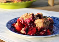 Blackberry-Peach Cobbler: Blackberries and peaches are in season, and they make a perfect pair for a summertime cobbler. Traditional cobblers rely on refined sugar, butter, and cow's milk, but these ingredients aren't missed at all in this dish; instead we'll use dates, non-dairy milk and banana. Enjoy!