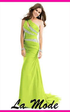 Beaded Green Prom Dresses via La Mode. Click on the image to see more!