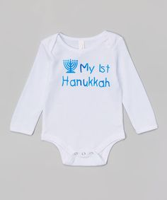 Love this White 'My 1st Hanukkah' Bodysuit - Infant on #zulily! #zulilyfinds