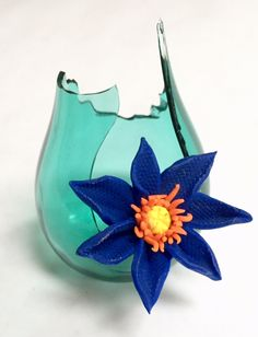 Polymer Clay, Flower and Broken Glass Vase, Contemporary Art by Victoria Raymond Assemblage Art, Inspiration, Clay, Art, Contemporary Art