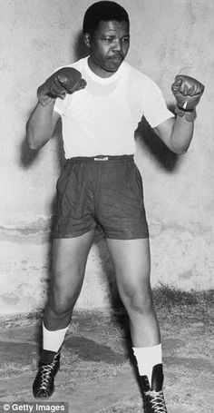Nelson Mandela pictured when he was a boxer in his youth in the early 1950's