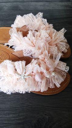 Handmade leather sandals with lace designed by Elli lyraraki