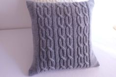 Knitted pillow cover gray charcoal knit pillow by Adorablewares