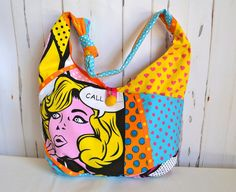 Pop art fabric bag yellow hobo bag colourful by RobynFayeDesigns