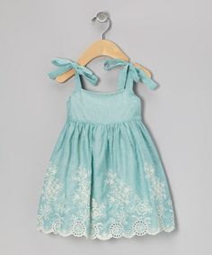 Take a look at this Blue Floral Embroidered Eyelet Dress - Infant & Toddler by Petit Confection on #zulily today!