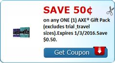 Save 50¢ on one AXE gift set; these should be on post-Christmas clearance, too!  ►►http://couponing4you.net/axe-50/