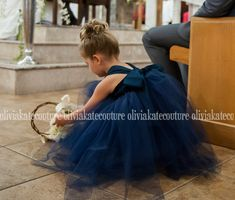 oliviakate.com : Navy Flower Girl Tutu dress... *Features a Cotton Sweetheart Bodice, Soft Tulle and a Fully Lined Skirt.  *Sweetheart Bodice Straps Tie at the Back for a comfortable fit.  *BIG BOW in back of dress!  *Bow can be customized in another color for an extra fee.  *Comes in Tea Length