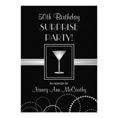 Birthday Surprise Party Silver & Black Paper Invitation Card Contemporary and elegant Adult Birthday Surprise Party invitations -- --Customize the name, date, and details for any special occasion. Matching postage and thank you cards a. Surprise Party Invitations, Cocktail Party Invitation, Anniversary Party Invitations, 50th Birthday Party Invitations, 30th Birthday, Birthday Gifts, Surprise Birthday, Birthday Ideas, Elegant Invitations