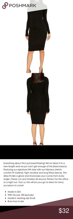 NWT Naked Wardrobe black midi dress slim crew neck New with tags. Beautiful dress seen on many celebrities. The dress is double lined and therefore very form fitting (but stretchy) and not see-through. Beautiful cut neck as well and goes right above knee💕✨ naked wardrobe Dresses Midi