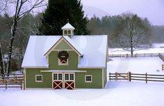 Beautiful green barn winter scene - Old Paths w/a Twist of Time FB Blog ❤