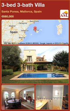 3-bed 3-bath Villa in Santa Ponsa, Mallorca, Spain ►€680,000 #PropertyForSaleInSpain