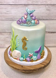 Mermaid Party Cake Topper, Sugar Tiara Cake Topper, Under the Sea Party, Fondant Tiara, Edible Seashells Ocean Birthday Cakes, Ocean Cakes, Mermaid Theme Birthday, Birthday Cake Girls, 3rd Birthday, Fake Wedding Cakes, Fondant Wedding Cakes, Seashell Cupcakes, Fondant Seashells