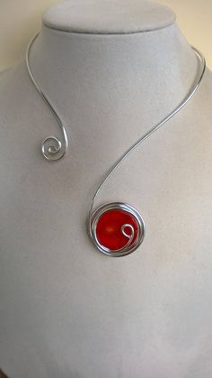 Modern necklace Open necklace Red necklace Wire wrapped