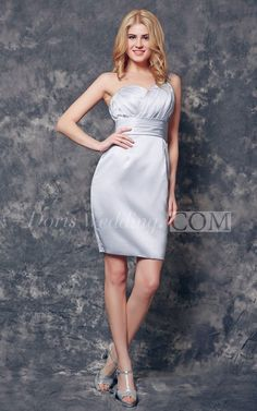 Sexy One Shoulder Ruched Short Satin Bridesmaid Dress. An elegant silver bridesm Silver Bridesmaid Dresses, Robes D'occasion, Bustier, Special Events, Strapless Dress, One Shoulder, Elegant, Formal Dresses, Sexy