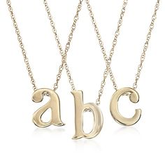 14kt Yellow Gold Mini Lowercase Initial Pendant Necklace