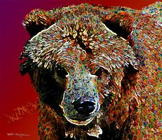 """Grizzly Portrait Contact: Marv Lyons - 619.691.8776  lyons@visionsynthesis.net  36"""" x 35"""" print on fine watercolor paper or canvas $585 • Shipping Extra"""