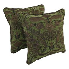 Blazing Needles 18-inch Corded Green Damask Jacquard Chenille Throw Pillows (Set of 2)