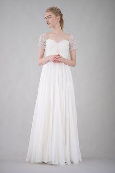 Beaded sleeved silk chiffon wedding gown