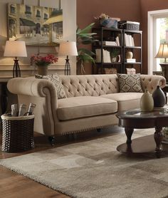 Coaster 505821 Trivellato Oatmeal Linen Sofa couch with 2 Pillows