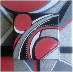 tableau moderne abstrait effet volume 3D rouge gris noir : Peintures par art-monize31 Illustration Art, Illustrations, Zentangles, Abstract Paintings, Art Art, Business Cards, Etsy, Vintage, Drawings