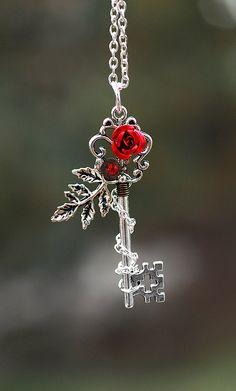 Winter Rose Key Necklace by KeypersCove on Etsy, $30.00