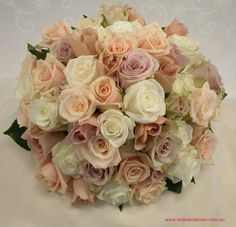 `Sahara` roses, `Chantilly` roses, `Creme de Menthe` roses, `Julia` roses and `Akito` roses / Southern Charm Red Wedding Flowers, Rose Wedding Bouquet, Bridesmaid Flowers, Bridal Flowers, Brides And Bridesmaids, Wedding Colors, Taupe Wedding, Our Wedding, Wedding Renewal Vows