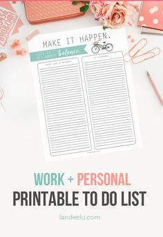 Work + Life Balance To Do List Template FREE Printable | landeelu.com Great way to organize business and personal stuff into task lists!