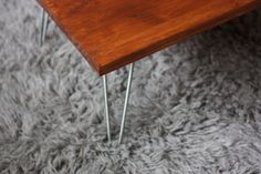 DIY coffee table with hairpin legs  Saw similar small table in PBkids catalog. Idea for under IKEA Kura bed?