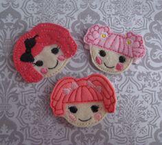 Felt Hair Clips 3pc LALA Dolls - NO SLIP Hair clippies. $10.99, via Etsy.