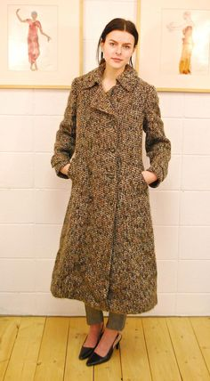 Small Medium 40 Bust 80s Aquascutum Purple Woven Tweed Belted Long Wool Coat with Scarf