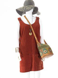 Vintage Romper Overall Dress  Burnt Orange Corduroy Jumper Dress