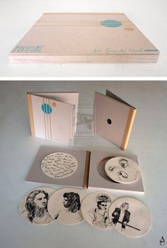 POMPORÉ  Libro de artista que recoge 16 grabados a puntaseca en formato circular. Un homenaje al flamenco. 14'5x14'5x1 cm