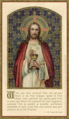 This relates to the Eucharist because as you go up it is the most sacred moment in the mass because you are receiving God, Jesus and the Holy Spirit. Catholic Prayers, Catholic Art, Catholic Saints, Roman Catholic, Religious Pictures, Religious Icons, Religious Art, Vintage Holy Cards, Religion Catolica
