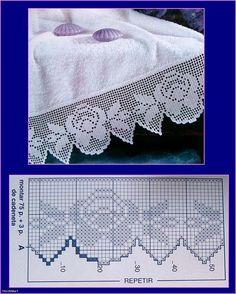 Kira crochet: Crocheted scheme no. Crochet Lace Edging, Crochet Motifs, Crochet Borders, Thread Crochet, Crochet Doilies, Crochet Stitches, Crochet Patterns, Filet Crochet Charts, Crochet Diagram