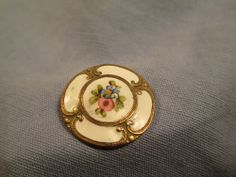 "French Enamel Rose Button 1"" dia. /  Victorian Scroll Border /    JN 107"