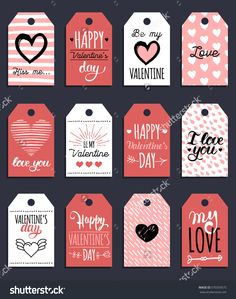 Vector Valentine'S Cards Templates. 12 Saint Valentine'S Labels Or Posters. Hand Drawn February 14 Gift Tags. Valentine'S Day Hand Lettering Illustration. Vintage Love Background. - 370359575 : Shutterstock