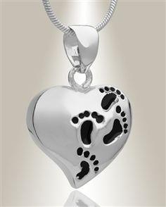 Footprint Heart Pendant
