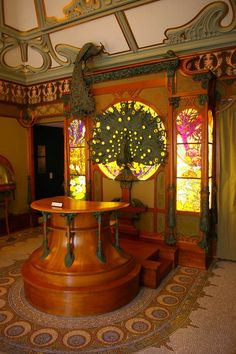 This Art Nouveau interior was designed by Alphonse Mucha in 1900 for the Parisian jeweler, Georges Fouquet. The interior has been reconstructed in the Musee des Arts Decoratifs in Paris to preserve its beauty and artistic importance.