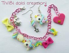 Rainbow Pegasus Kawaii Bracelet and Earrings - pink