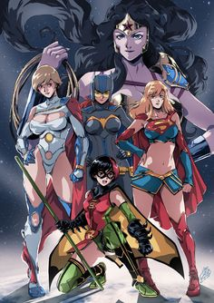 Here's a fun piece of anime style art that reimagines the Justice League team as all girls. The illustration was created by DeviantArt artist Santi-Ikari.