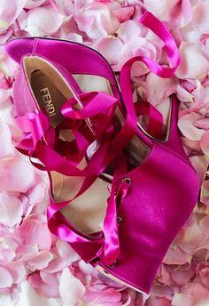 Fendi Shoes Pink Satin Rose Petals Heels by PetalsandJasmine