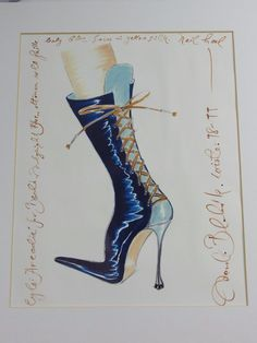 AUTHENTIC ORIGINAL SIGNED MANOLO BLAHNIK ILLUSTRATION SHOE DESIGN DRAWING #illustrative