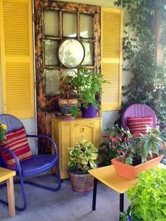 LOVE this colorful corner!  20 Awesome Bohemian Porch Décor Ideas | DigsDigs
