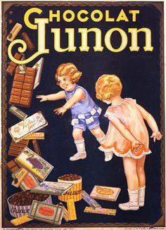 Vintage French ads posters: Junon chocolate / Ancienne affiche publicitaire, vieilles publicités : Chocolat Junon Plus