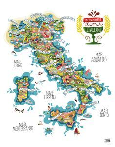 Food products of Italy by Antoine Corbineau. Super detailed map... visit the site for zoomed-in views of each Italian region.