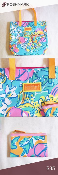 Lilly Pulitzer for Estée Lauder Go Anywhere Tote Colorful and fun Lilly Pulitzer Tote and matching wallet/makeup bag/ coin purse. All the beautiful colors LP is known for - blue, green, yellow, orange and pink in a floral design. Straps are orange and pink and reversible. The Tote is approximately 15 inches in height and 16 inches long when laid flat. Open to reasonable offers! Lilly Pulitzer Bags Totes