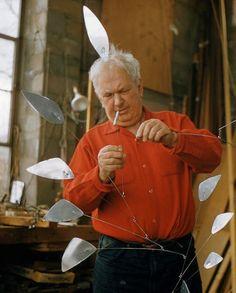 Alexander Calder in his studio, 1958