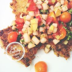 Amaranth and chickpea 'falafel' with pear salsa (vegan, gluten-free).